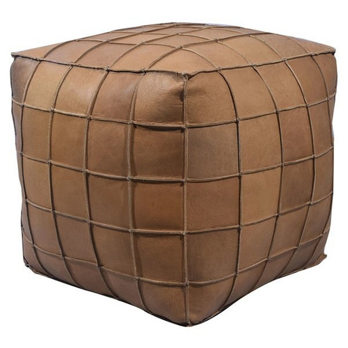 18 inch square leather upholstered patchwork pouf or ottoman in natural light brown finish