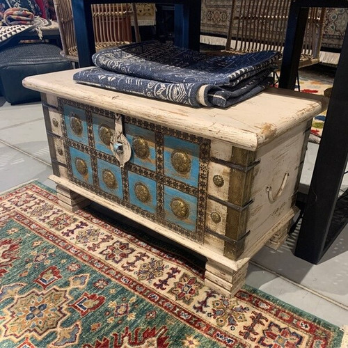 32 Inch Light Blue and White Coastal Style Low solid wood bench or trunk with top access and brass detailing