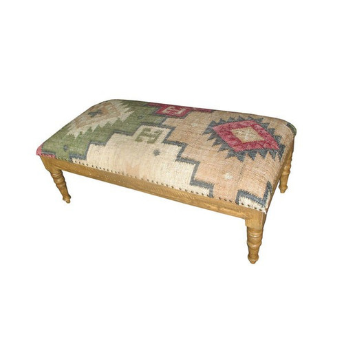 48 Inch Red, Green and Yellow Stylish Wool Upholstered BoHo Bench or Ottoman with Carved Wooden Base and Traditional Kilim Inspired Fabric