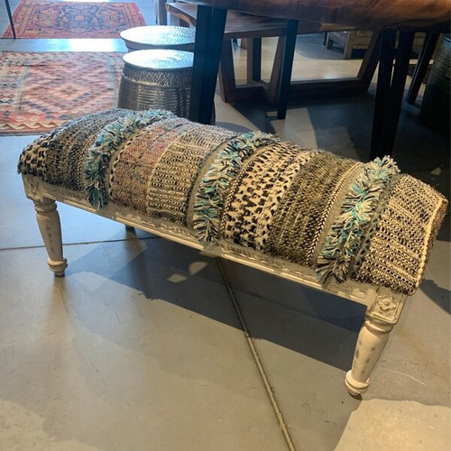 Stylish Cotton Upholstered Bench with Carved Wooden Base and Transitional White Black, Light Blue and Multicolor Cotton Fabric