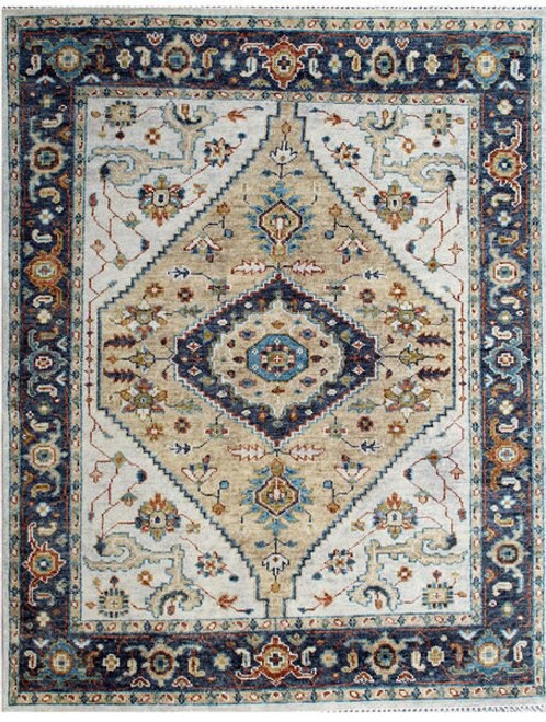 8' x 10' Transitional Off-White, Beige and Dark Blue Color Hand-knotted All Wool Carpet