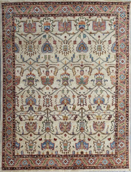 8' x 10' Transitional Beige, Light Blue and Orange Color Hand-knotted All Wool Carpet
