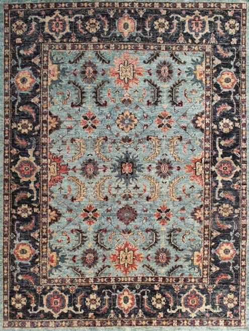 8' x 10' Transitional Black and Light Blue Color Medallion Pattern Hand-knotted All Wool Carpet