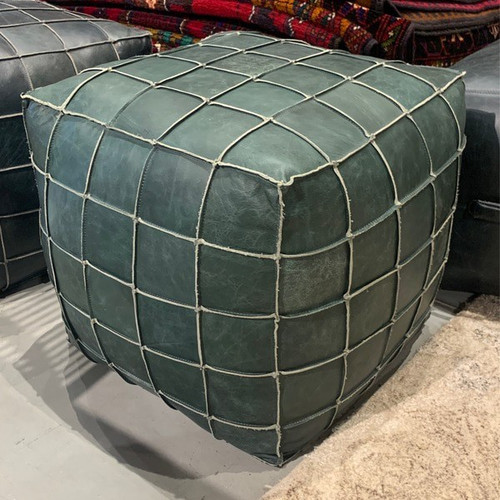 18 inch square leather upholstered patchwork pouf or ottoman in teal green finish