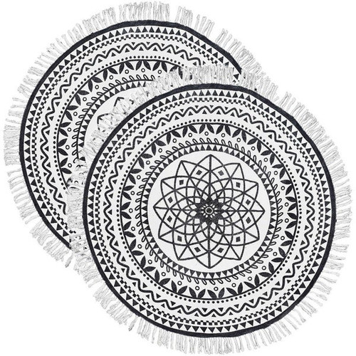 Set of 2 - 4' x 4' Round Rug Off-White and Black Batik Pattern Printed Cotton Small Rug, Carpet, or Tree Skirt