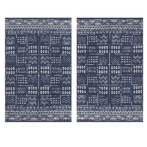 Set of 2 - 2' x 3' Indigo Blue and White Batik Pattern Printed Cotton Small Rug, Carpet or Mat