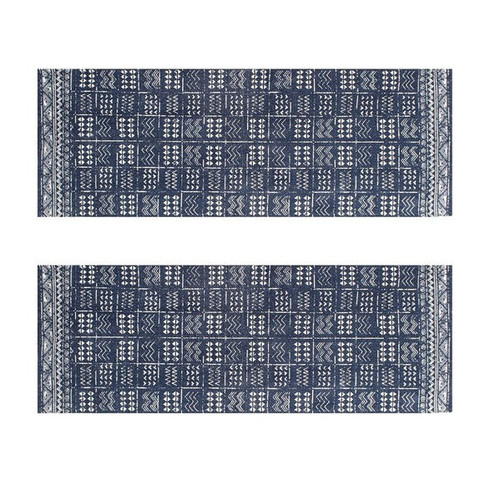 Set of 2 - 2' x 6' Runner Indigo Blue and White Batik Pattern Printed Cotton Small Runner Rug, Carpet or Mat