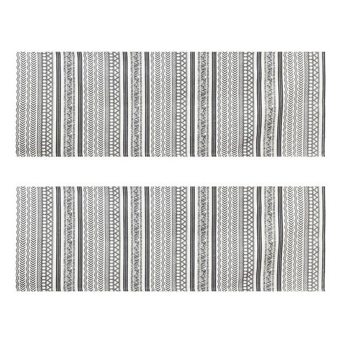 Set of 2 - 2' x 6' Runner Off-White and Black Batik Pattern Printed Cotton Small Runner Rug, Carpet or Mat