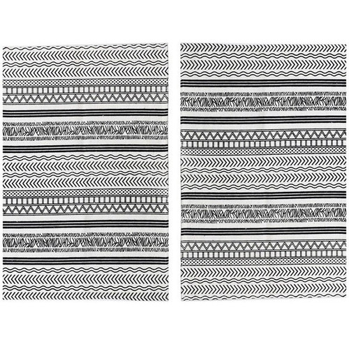 Set of 2 - 2' x 3' Rug Off-White and Black Batik Pattern Printed Cotton Small Rug, Carpet or Mat