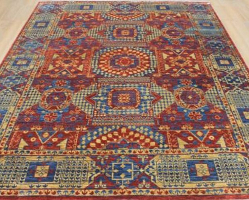 Xx9'1 X 12'2 Red Blue and Yellow Eclectic Mamluk Style Handknotted Transtitional Geometric Rug