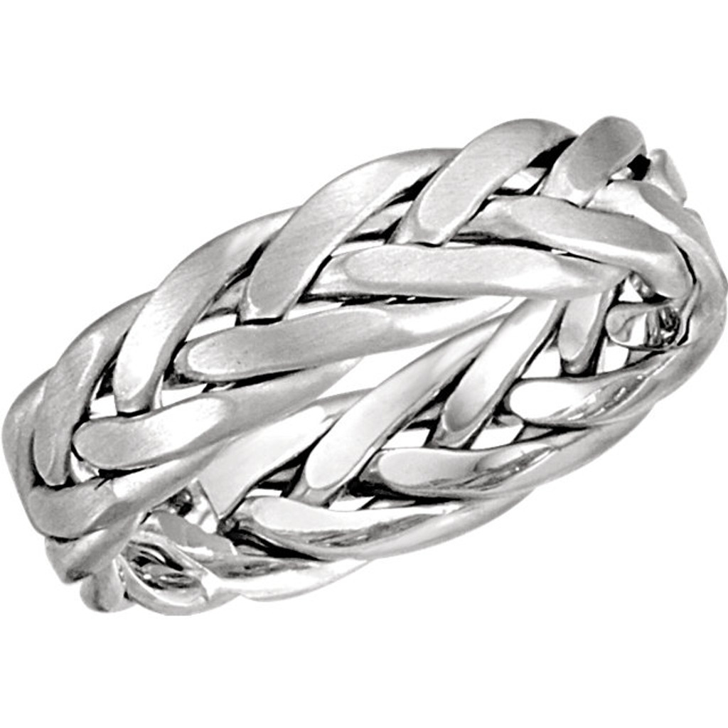 """This  14k white gold men's/women's band is contemporary metal.  Approximately 6.5mm, 9.49grams (6.1DWT).  Approximately 0.83"""" height.  It has a polished surface finish, Sizes 7, 9.5, 10,11, please email EVHjewelry@aol.com regarding size preference. Special order may take about 4-6 weeks to arrive, if in stock will take 5 days to arrive. Photo may have been enlarged and/or enhanced. ·         This item cannot be shipped to P.O. boxes, or APOs."""