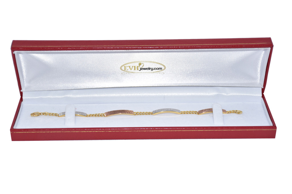 18k Solid Gold Tri- Color Bracelet