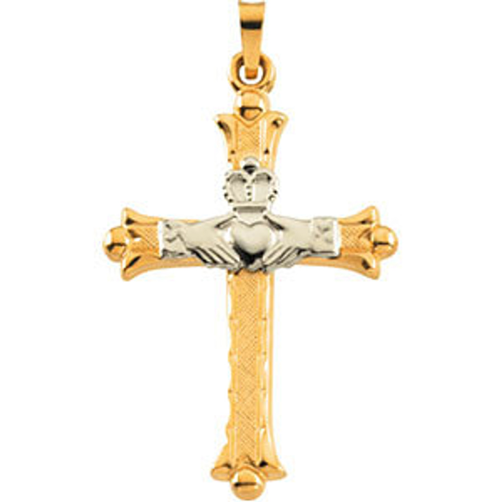 14K Yellow & White 32.5x23.5 mm Hollow Claddagh Cross Pendant Necklace