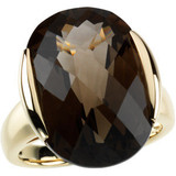 """This genuine smoky quartz weighs approximately 6.31g (4.06DWT) and less than 1""""L.   Ring is size 7, set in14k yellow gold. Actual ring top dimensions: 20.2mm   Photo may have been enlarged and/or enhanced.  The ring is packaged in a beautiful jewelry gift box, perfect for gifting. If you have any further questions feel free to EMAIL us at EVHjewelry@aol.com."""