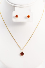 18k Solid  Yellow- Gold Necklace Set  18 Inches Long