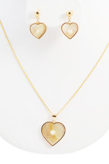 18k Yellow Gold Necklace Earrings Set 18.5 Inches Long