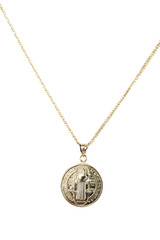 """18k Yellow Gold St. Benedict Medal Necklace 18"""" Long"""