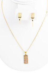18k Yellow Gold Necklace Set 18 Inches Long