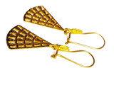 21K Solid Yellow-Gold Earrings  1 1/2 Inches In Length