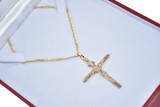 18k Yellow-Gold Cross Necklace 18 Inches Length