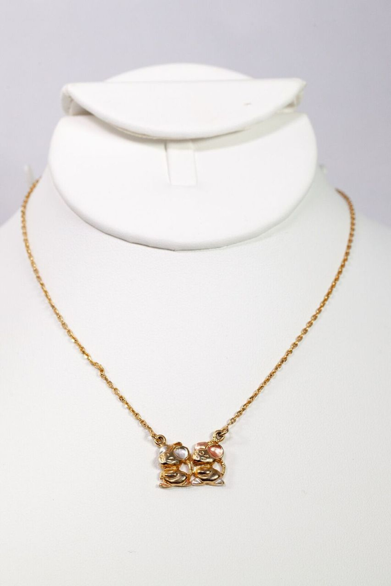 14k Gold Plated Mice Pendant Necklace
