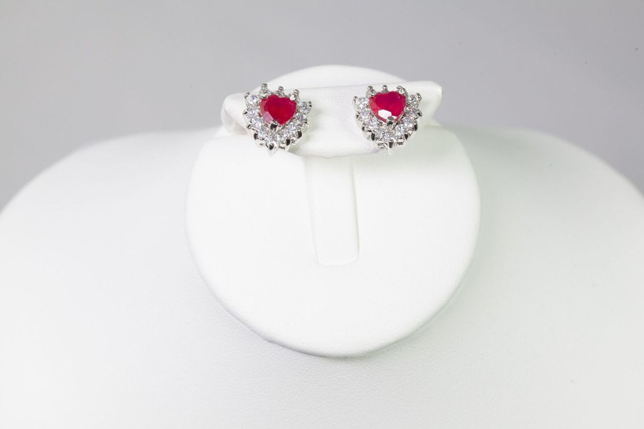 Pink Gem Stone Earrings 10kGP Hearts Shape