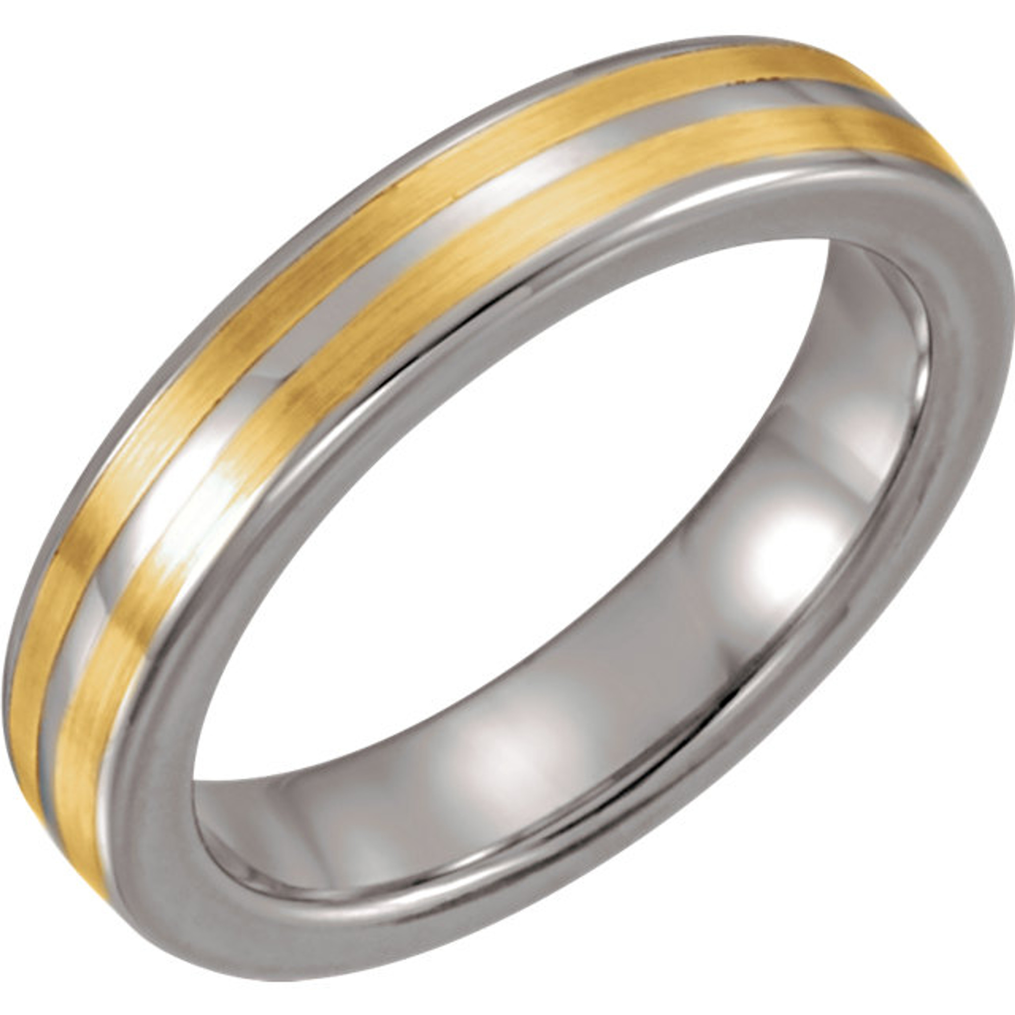 Tungsten & 14K Yellow 4.3mm Domed Band Size 9.5