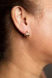 Floral Design Earrings With Gem Stones