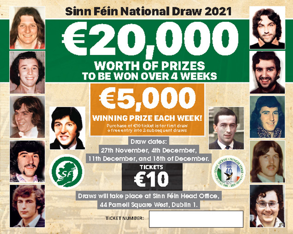 Sinn Féin National Draw ticket 2021