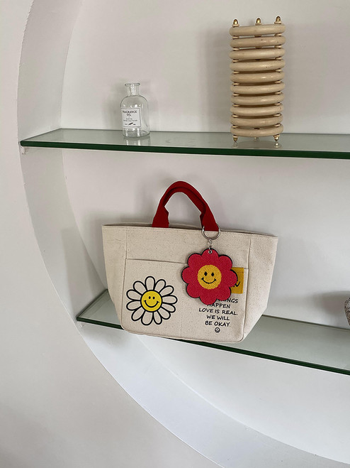 Smiley Canvas Cotton bag with Strap