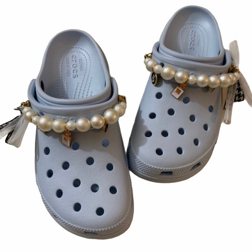 Pearl bow chain 1pcs shoes Charms for crocs