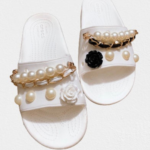 Pearl Leather chain shoes Charms (set of 10pcs)