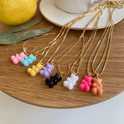 Brass chain bear necklace / Gummy Bear necklace / Beaded Pearl chain necklace / Teddy bear necklace/ gift for her /Retro summer Accessories
