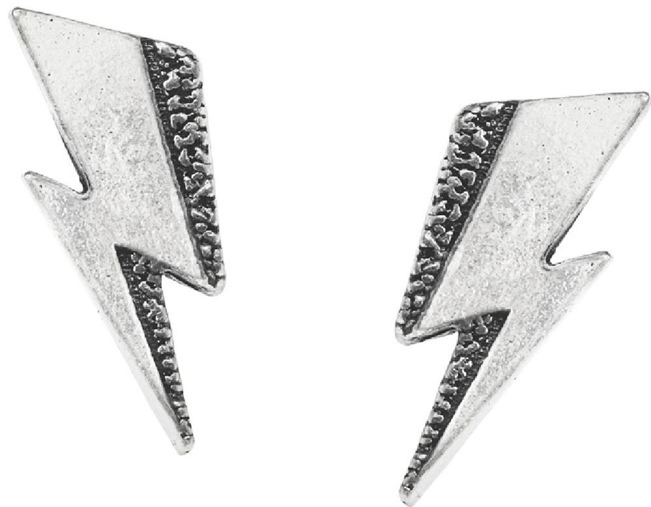 David Bowie Earrings by Alchemy of England - Lightning Bolt  Pewter with  Steel Ear Post