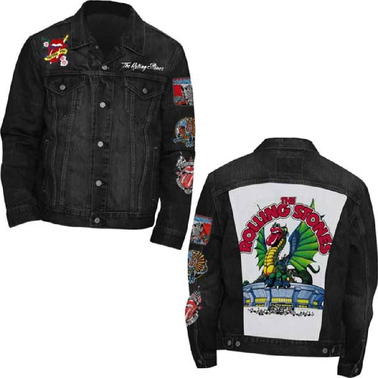 Rolling Stones Denim Jacket Rolling Stones Tattoo You Logos and Patchwork. Black Jean Trucker Jacket