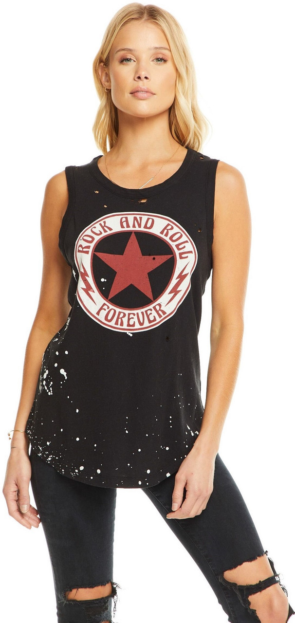 f0407cc1 Rock and Roll Forever Women's Black Vintage Sleeveless Muscle Tank Top T- shirt by Chaser