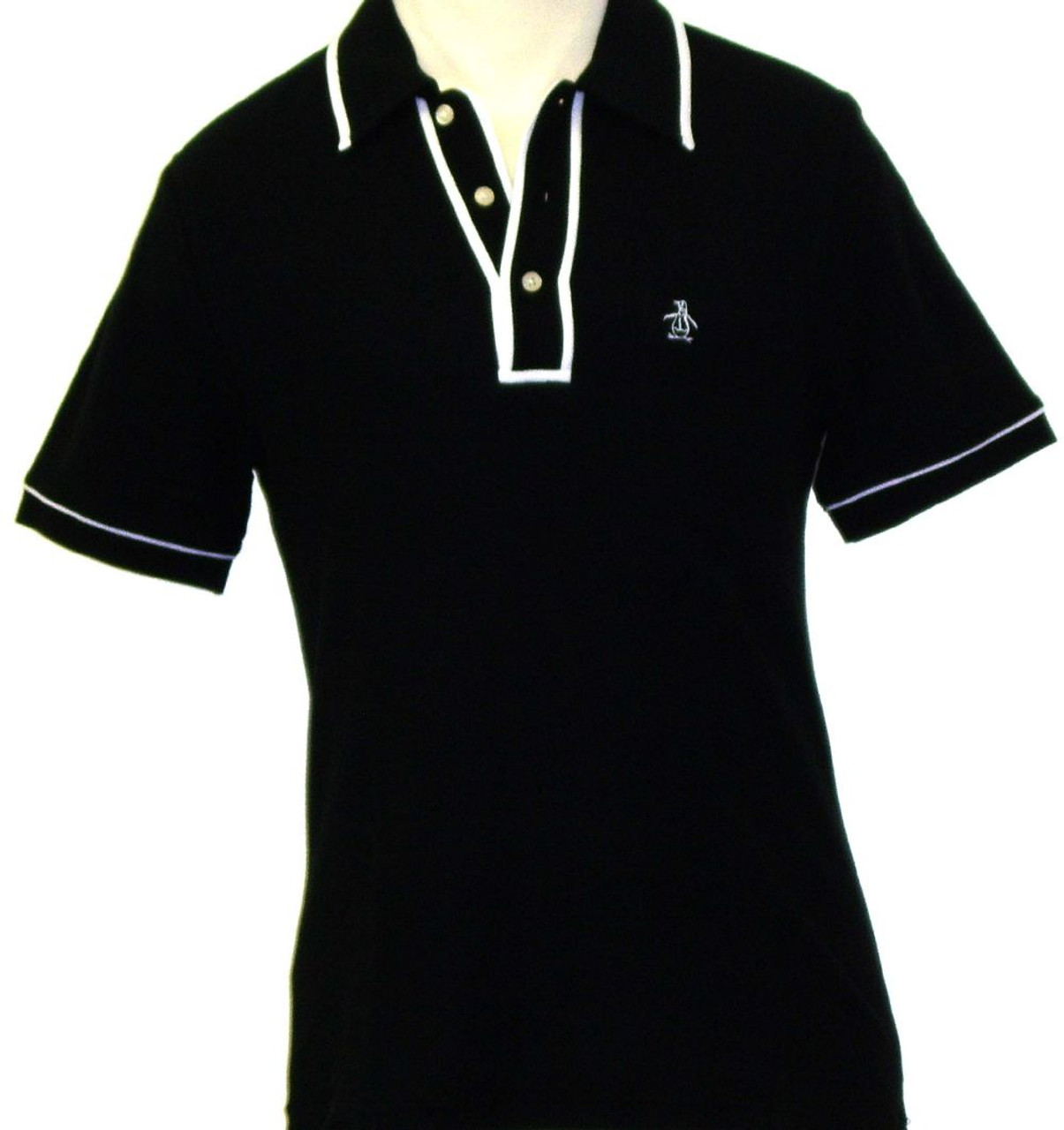 Original Penguin By Munsingwear Mens Earl Black Polo Shirt Rocker