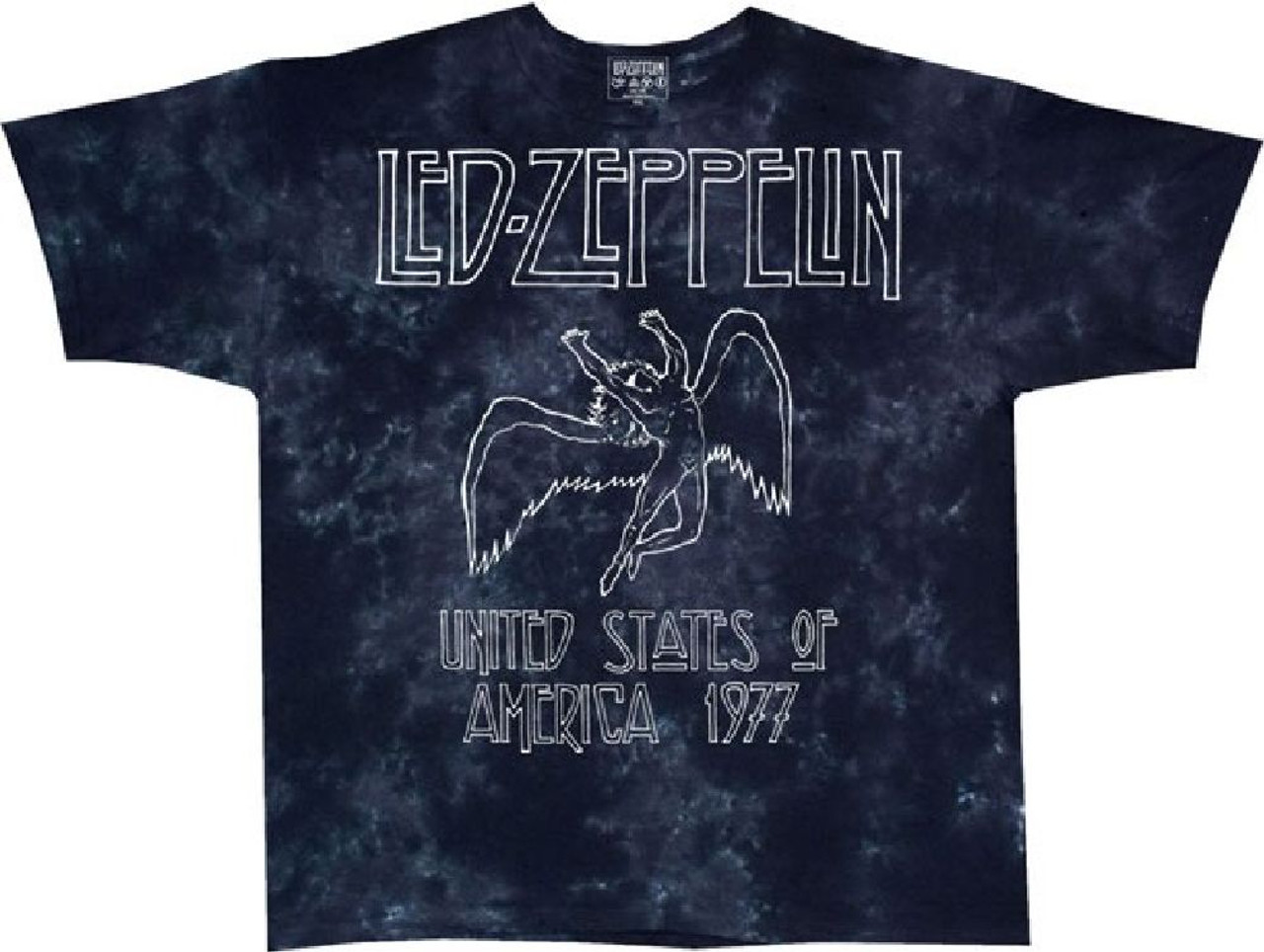 48bcf2c82 Led Zeppelin United States of America 1977 Tour Men s Black Tie-Dye Concert  T-