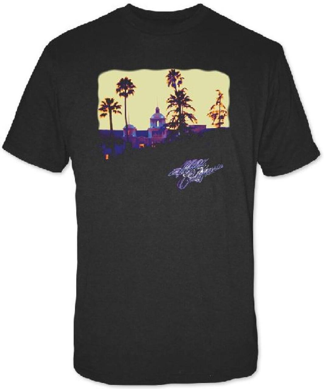 6d6e085826ec Eagles Hotel California Album Cover Artwork Men s Black T-shirt ...