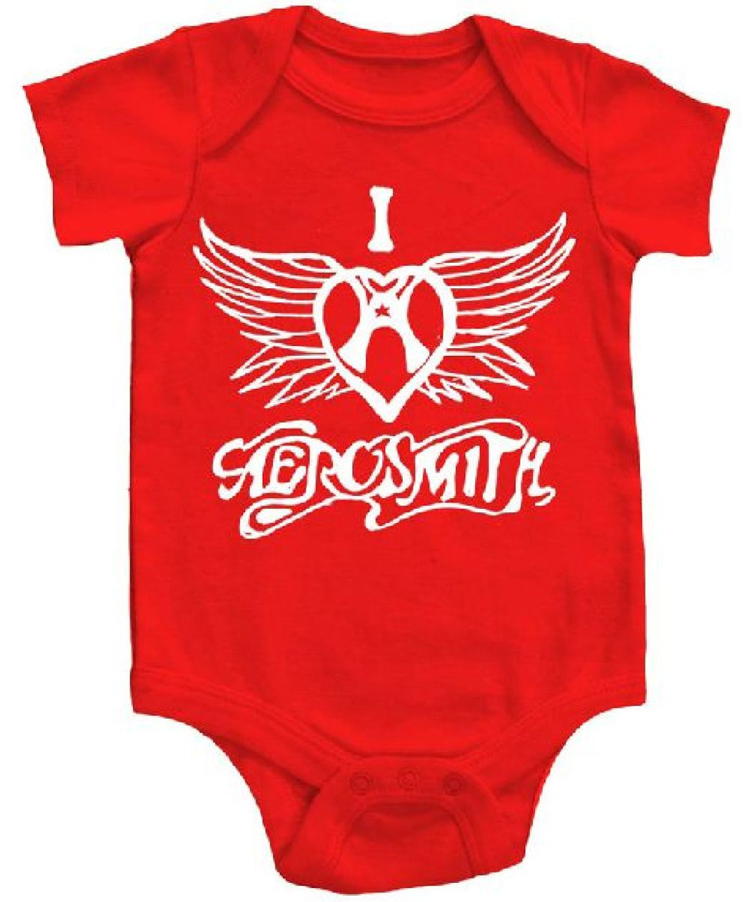 b7be97158 Aersomith I Heart Aersomith Logo Baby Onesie Infant Romper Suit in Red