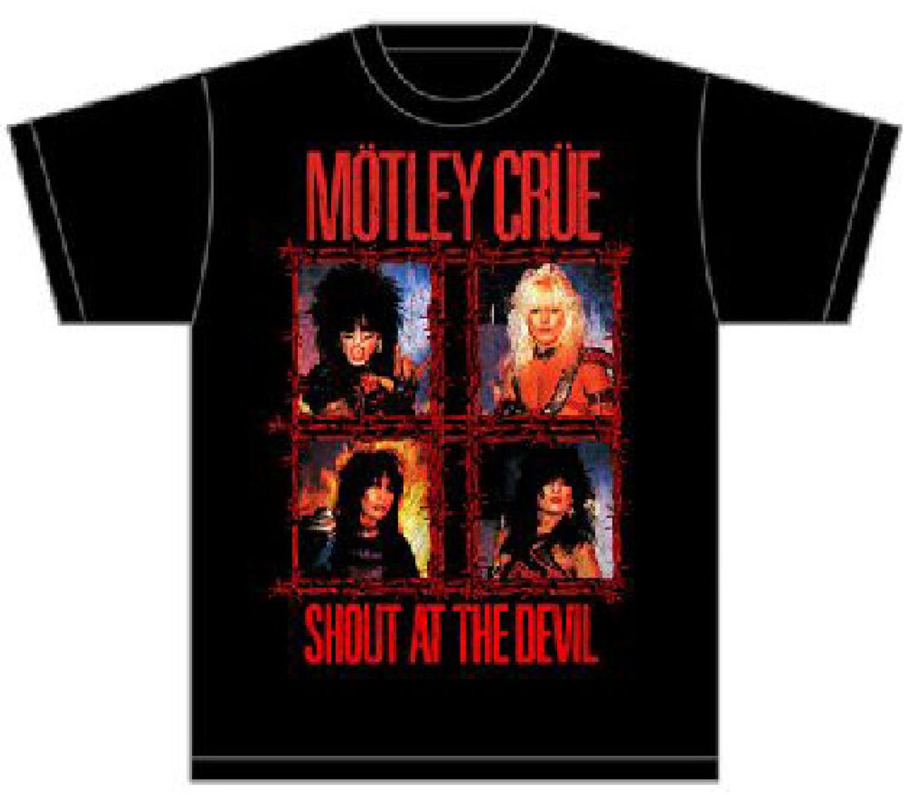 952294555b Motley Crue Shout at the Devil Album Cover Artwork Men s Black T-shirt