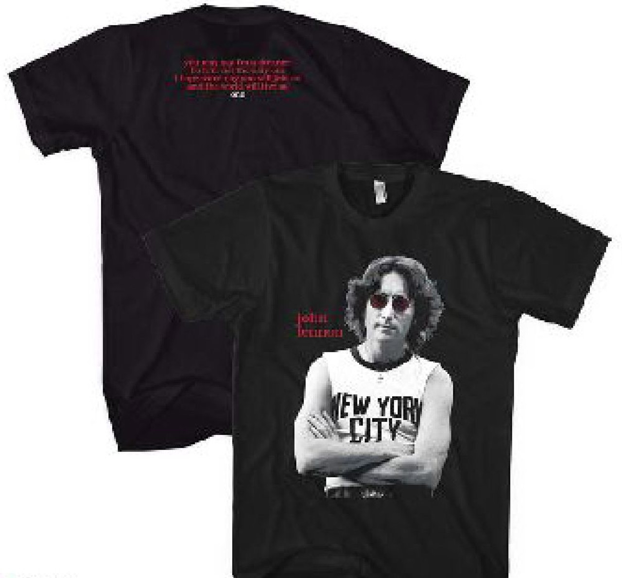 129939a0a John Lennon Classic New York City T-shirt Photograph with Imagine Song  Lyrics Men's Black