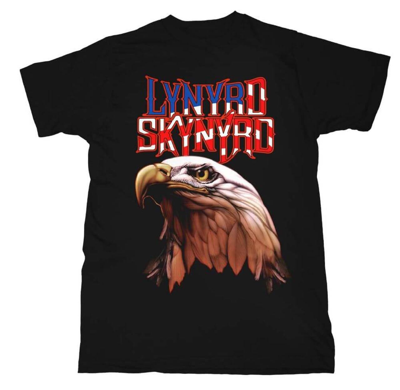Lynyrd Skynyrd T-shirt - Logo with American Bald Eagle  Men's Black Shirt