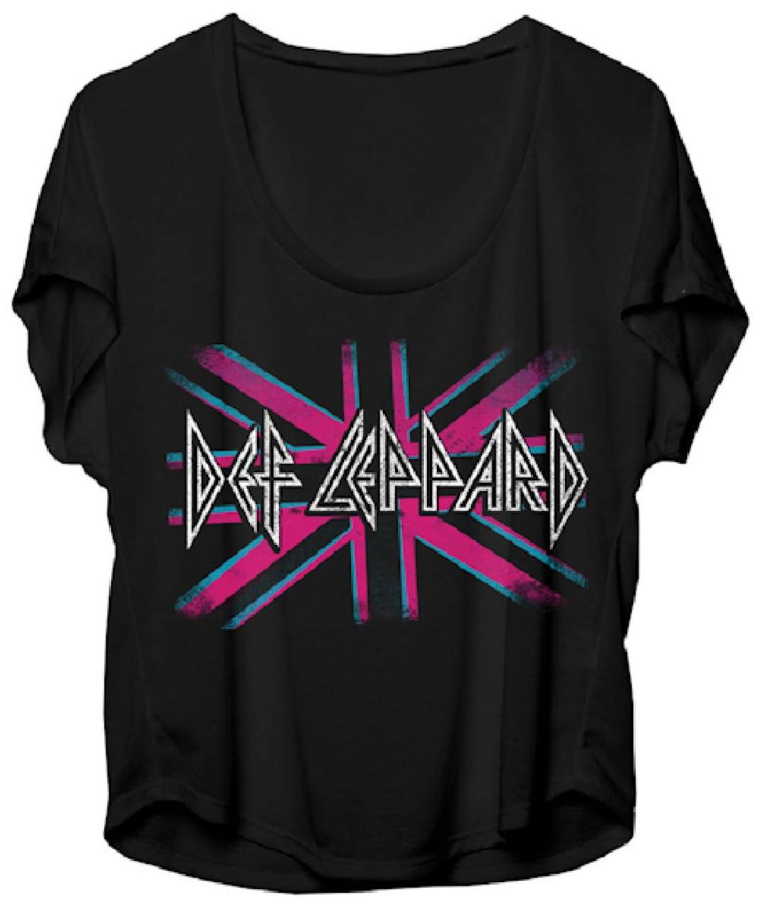 7f47a580 Def Leppard Women's T-shirt - British Flag Logo. Black Dolman Shirt ...