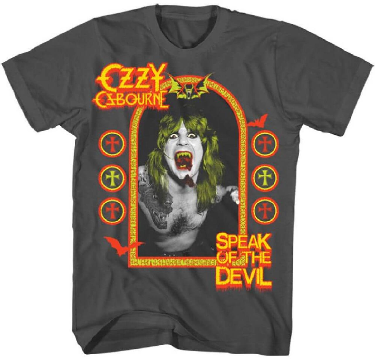359269bad Ozzy Osbourne Speak of the Devil Album Cover Artwork Men's Gray T-shirt