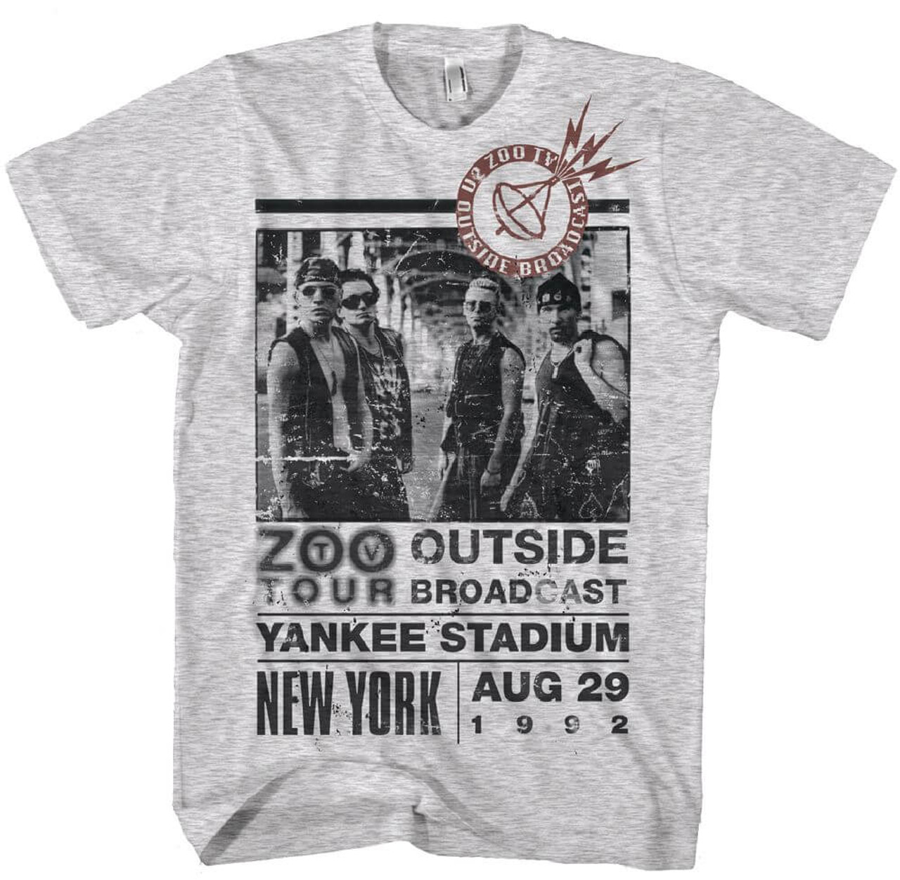 U2 Zoo TV Tour New York Yankee Stadium Men s Gray Vintage Concert T-shirt 375abd20a21