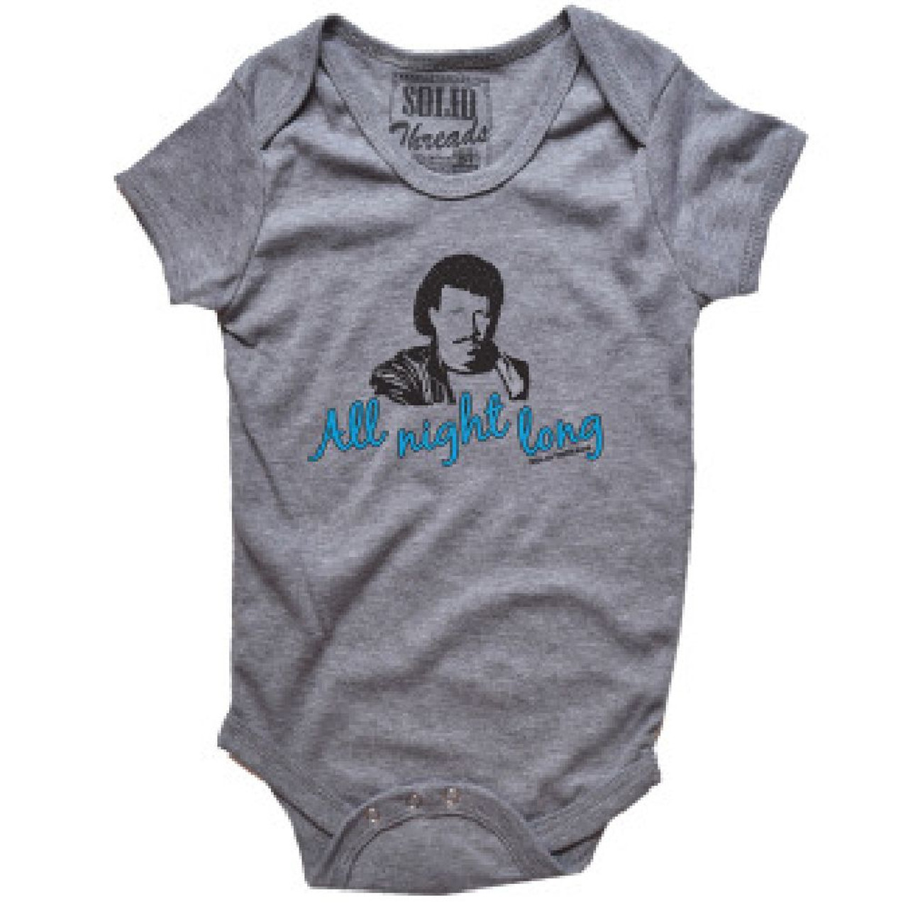68d970b6 Lionel Richie Baby Bodysuit - All Night Long Song Title. Gray Infant One  Piece Outfit