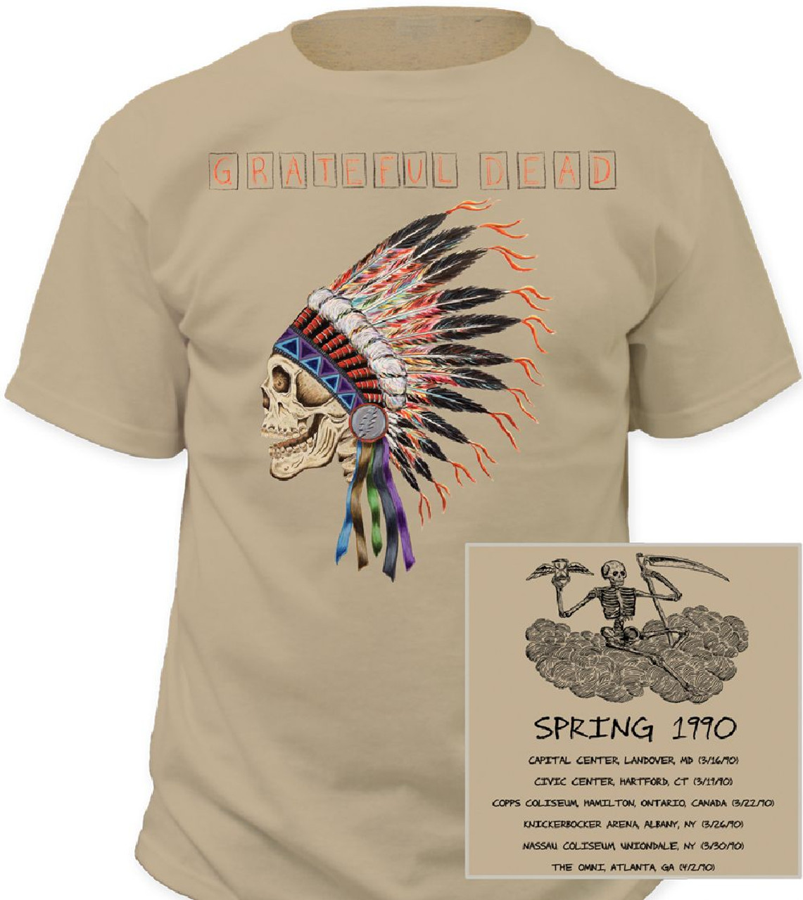 Grateful Dead Concert Tour T-Shirt - Grateful Dead Spring 1990  Men's Beige  Shirt