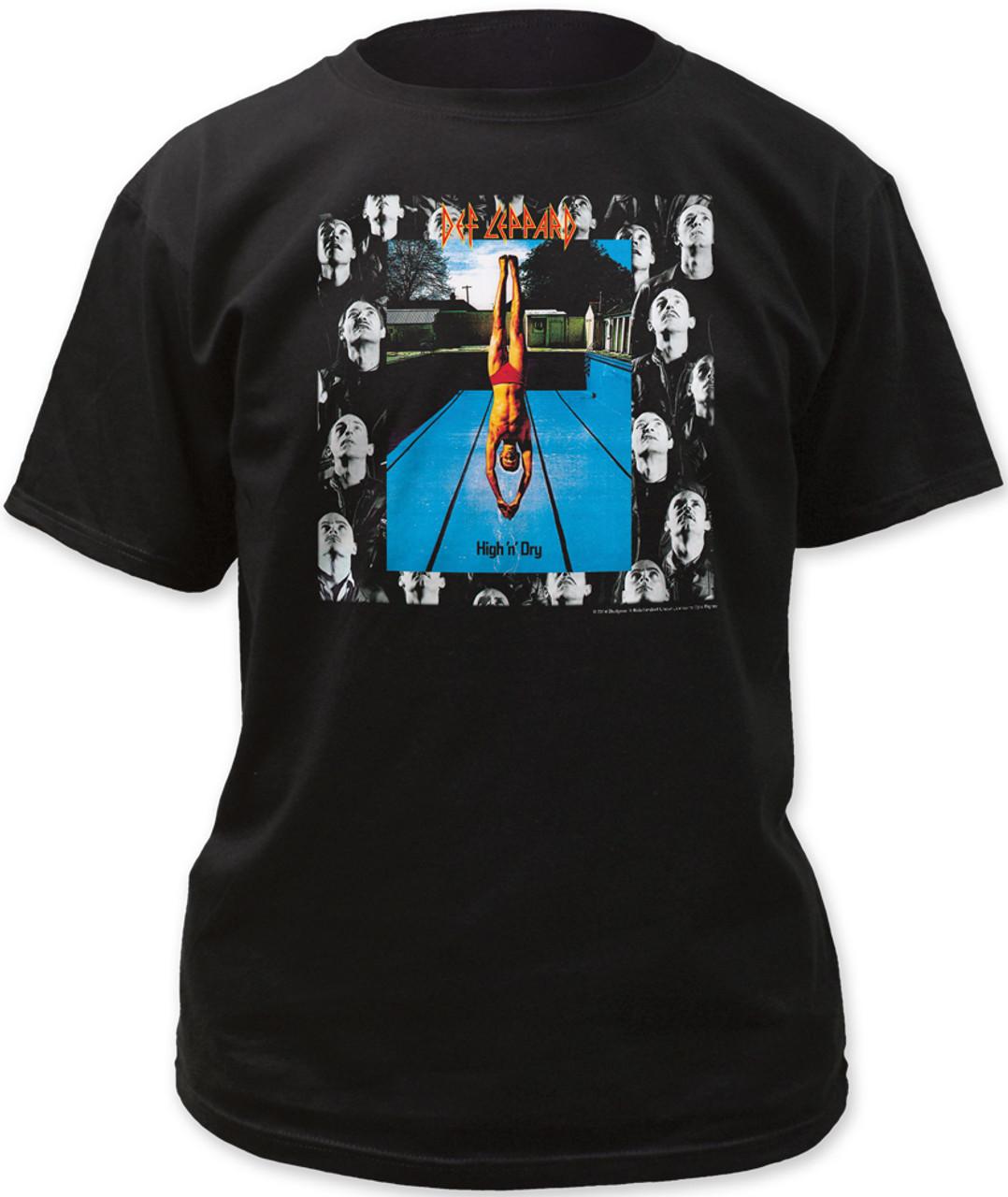 Def Leppard High n Dry Album Tour 1981 Pool Dive Mens T Shirt Rock Band Merch