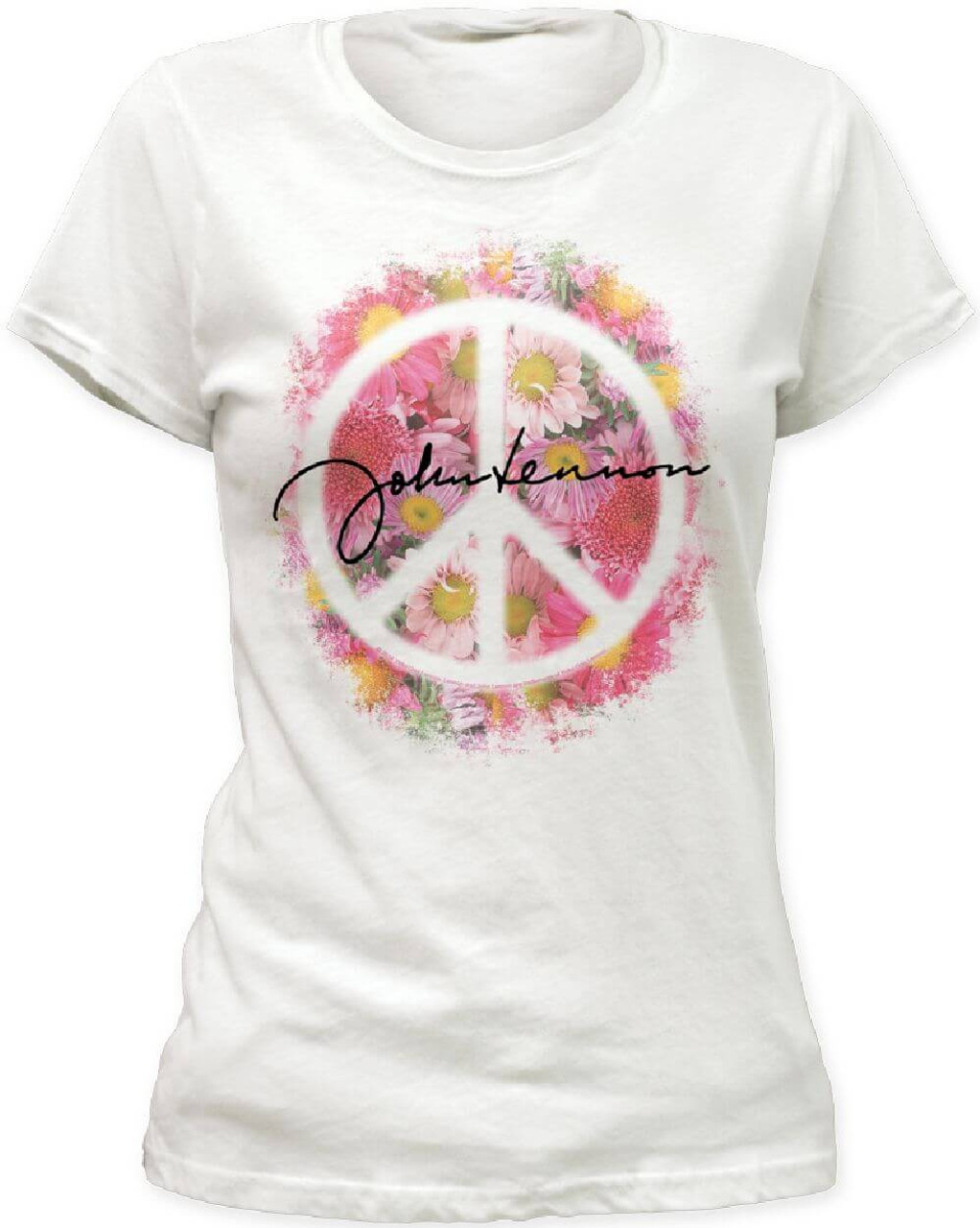 John Lennon Signature with Flowers and Peace Sign Women s White T-shirt 022ee47ab